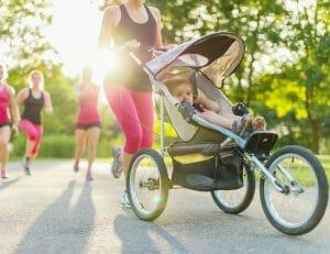 mum jogging with pram
