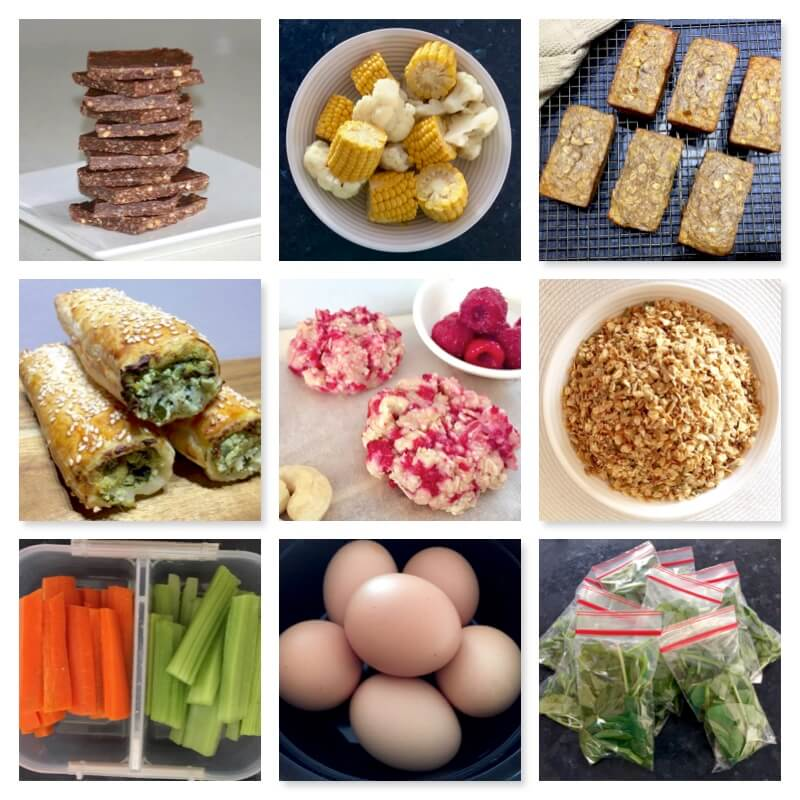 Collage of snacks and meals made by Shelley